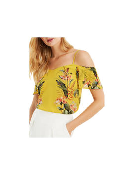Oasis Fitzwilliam Cold Shoulder Cami Top, Ochre by Oasis