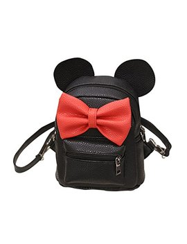 Respctful Fashion Mickey Backpack Mini Cute Bownot Bag For Girl Travelling by Respctful
