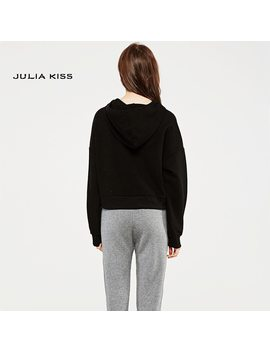 Women Embroidery Letter Crop Hooded Sweatshirt With Batwing Sleeve by Julia Kiss
