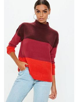Burgundy High Neck Colour Block Jumper by Missguided