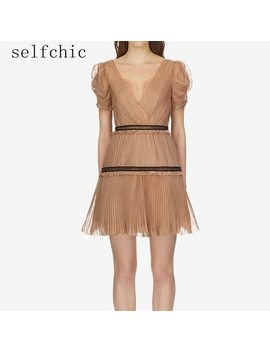 Self Portrait Short Dress Women Sexy V Neck Party Pleated Dresses 2018 by Selfchic