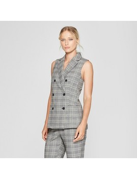 Women's Plaid Sleeveless Suit Vest   Who What Wear™ Blue/Cream by Who What Wear
