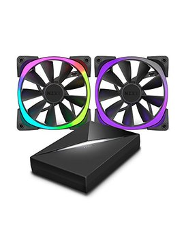 Nzxt Aer Rgb120 120 Mm Rgb Led Fan With Hue Controller   Black (Pack Of 2) by Nzxt