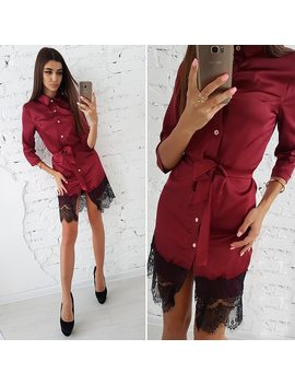Women Vintage Patchwork Lace Button Dress Ladies Casual Turn Down Collar Sashes Mini Dresses 2018 Autumn Female Party Dress by Shyloli