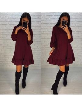 Autumn Dress 2018 Women's Ruffle Dresses Three Quarter Sleeve Casual Loose Fashion Mini Women Dresses Plus Size by Ali Express