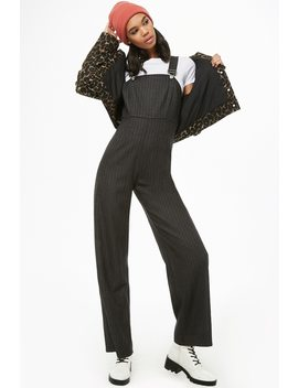 Pinstriped Wide Leg Overalls by Forever 21