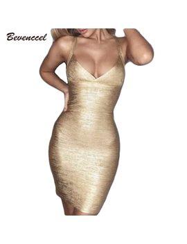 2018 New Women Gold Sliver Printing Sexy Bandage Dress Sleeveless Spaghetti Straps Vestidos Bodycon Celebrity Mini Party Dress by Bevenccel