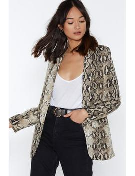 Snake A Minute Relaxed Blazer by Nasty Gal