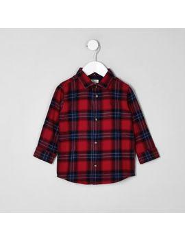Mini Boys Red Check Long Sleeve Shirt by River Island