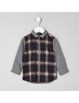 Mini Boys Navy Contrast Check Shirt by River Island