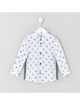 Mini Boys White Ri Crown Print Shirt by River Island