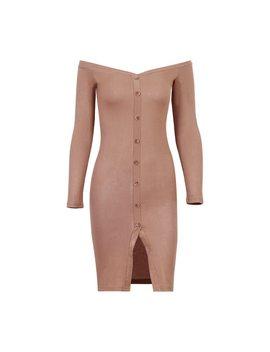 Wixra Basic Slash Neck Dress Long Sleeve Off Shoulder Dress Women Rib Knit Bodycon Dresses Spring 2018 Slim Button Up Dress by Wixra