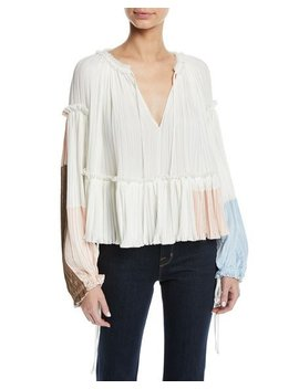 Pleated Colorblock Long Sleeve Ruffle Top by 3.1 Phillip Lim