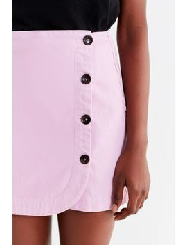 Uo Shelly Twill Button Down Wrap Mini Skirt by Urban Outfitters