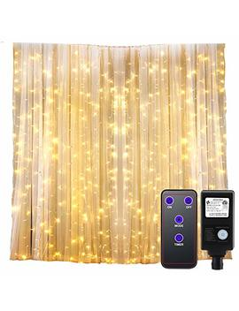 Gdealer 300 Led Window Curtain Lights With Timer,Remote Control String Lights Fairy Lights For Wedding Party Bedroom,6.6x6.6ft Hanging Lights Twinkle Lights Christmas Lights Wall Decor Warm White by Gdealer