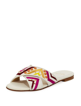 Buttoncandy Embroidered Leather Sandal by Stuart Weitzman