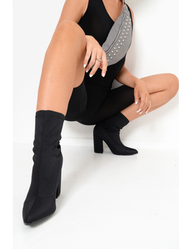 Black Stretchy Pointed Toe Block Heeled Boots   Meah by Rebellious Fashion
