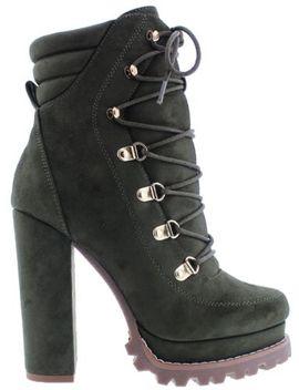 Monclair 4 Women Almond Toe Platform Block High Heel Ankle Lug Sole Boots by Liliana
