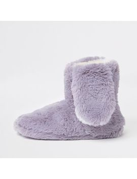 Grey Faux Fur Bunny Ear Boot Slippers by River Island
