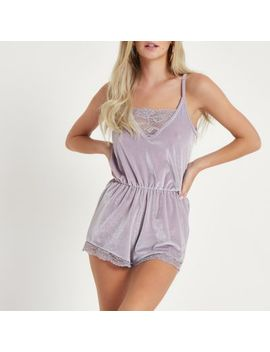 Petite Grey Hacci Lace Trim Lounge Playsuit by River Island