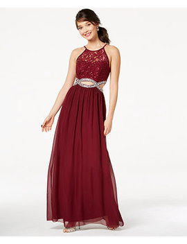 Juniors' Sequined Lace Infinity Gown by Speechless