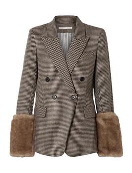 Fahey Dickey Faux Fur Trimmed Houndstooth Alpaca Blend Blazer by Veronica Beard