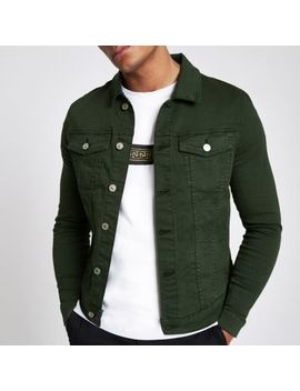 Dark Green Muscle Fit Denim Jacket by River Island