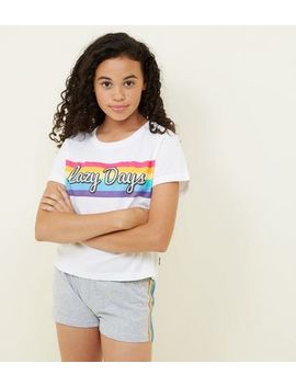 Girls Rainbow Lazy Days Pyjama Set by New Look