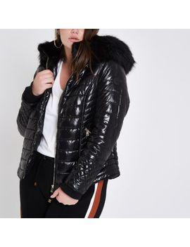 Plus Black Faux Fur High Shine Puffer Jacket by River Island
