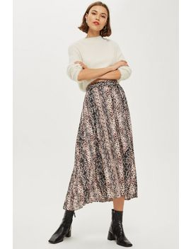 Petite Snake Print Pleat Midi Skirt by Topshop
