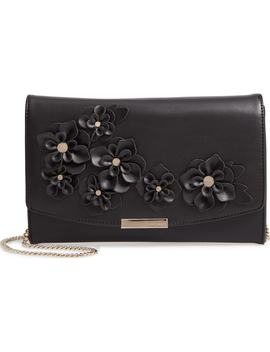 Floral Appliqué Faux Leather Clutch by Ted Baker London