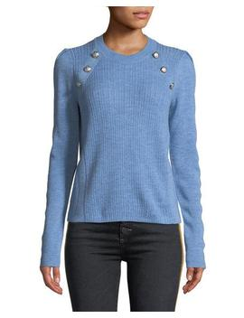 Simi Wool Button Shoulder Raglan Sweater by Neiman Marcus