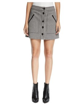 Monroe Houndstooth Button Front Mini Skirt by Veronica Beard