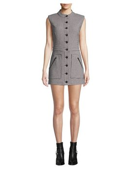 Leigh Houndstooth Button Front Mini Dress by Veronica Beard