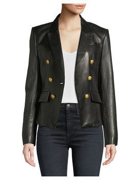 Cooke Single Button Metallic Leather Blazer by Veronica Beard