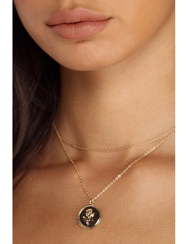 Rose Beauty Coin Layered Necklace by Windsor
