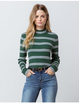 Sky And Sparrow Stripe Mock Neck Green Womens Sweater by Sky And Sparrow