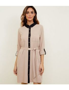 Tan Twill Contrast Trim Shirt Dress by New Look