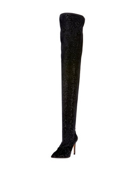 Amazone Glitter Over The Knee Boot by Balmain