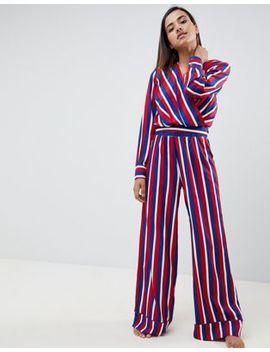 Asos Design   Pigiama Blusa A Righe A Portafoglio E Pantaloni Con Fondo Ampio by Asos