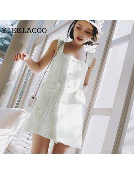 White Tweed Dress Sleeveless 2018 Autumn Women's Dress New Small Fragrance Simple Pearl Strap Tassel Dress by Yieelacoo