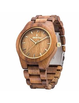 Men's Wooden Watch, Sentai Handmade Vintage Quartz Watches, Natural Wooden Wrist Watch by Sentai