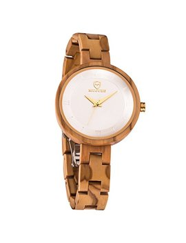 Women Wooden Watch,Bioston Handmade Vintage 34mm Analog Quartz Watches,Natural Wood Wrist Watch Girls by Mujuze