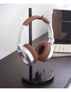 Black Bautes Round Headphone Stand by Yamazaki