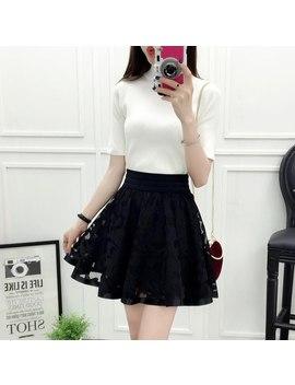 2018 New Spring Summer Women Black Mini Skirt Korean Elastic High Waist Skirt Shorts Sweet Mesh Tulle Umbrella Skirt Falda Tul by Lukaxsikax
