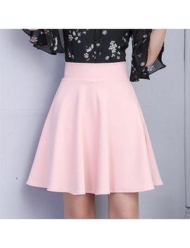Tigena Womens Skirt 2018 Summer High Waist Pleated Short Skirt For Women Mini Sun School Tutu Skirt Female Black White Pink Blue by Tigena