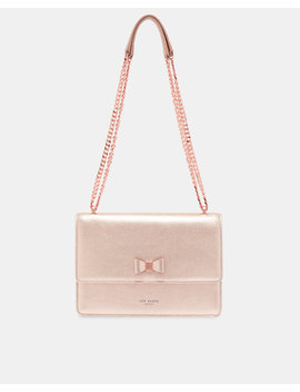 Bow Detail Metallic Leather Cross Body Bag by Ted Baker