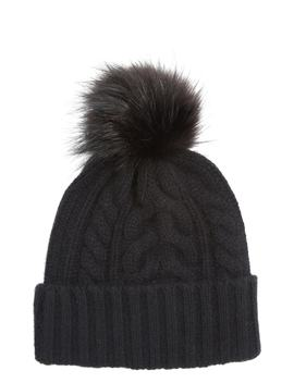 Cashmere Cable Knit Beanie With Faux Fur Pom by Halogen®