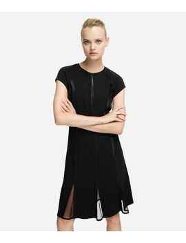Mesh Panelled Fit And Flare Dress by Karl Legerfeld