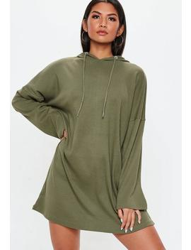Khaki Ribbed Oversized Hooded Sweater Dress by Missguided